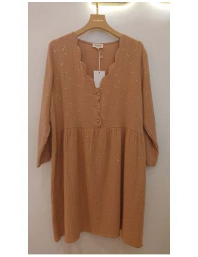 Robe manches longues camel...