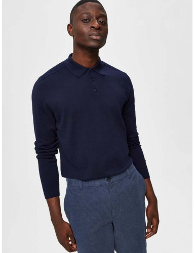 Pull col polo Selected marine